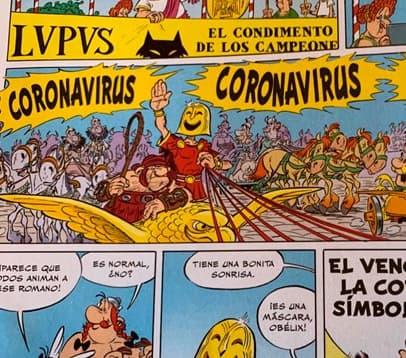 Asterix y Ovelix con el virus de covid-19